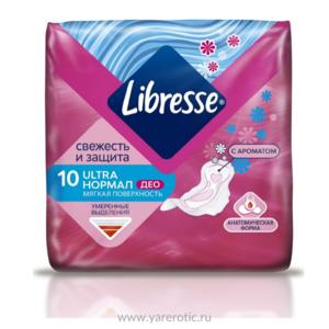 Прокладки LIBRESSE Ultra Normal Deo с мягкой поверхностью, 10 шт
