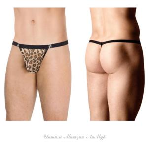 Стринги мужские с крупным принтом леопард SoftLine Collection, леопардовый, OS