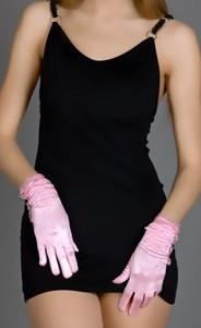 Перчатки атласные короткие с оборкой ЕН 100222
